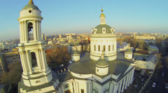 Church of St. Martin the Confessor against cityscape Stock Footage