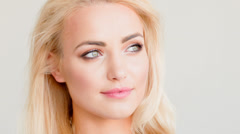Close Up Portrait of Blond Beautiful Girl  - stock footage