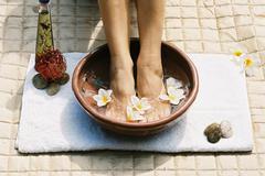 Aromatherapy footsoak Stock Photos
