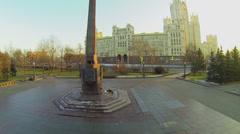 Obelisk on square near Kotelnicheskaya quay with traffic Stock Footage