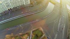 Traffic near square with obelisk on Kotelnicheskaya quay Stock Footage