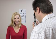 Eye examination checkup - stock photo