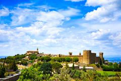 Tuscany, montalcino medieval village, fortress and church. siena, val d orcia Stock Photos