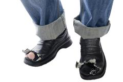jeans and shoes on white - stock photo