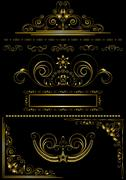 Collection of antique gold frames and calligraphic patterns Stock Illustration