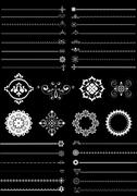 Collection  borders and ornaments on black background - stock illustration