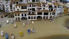 Aerial shots rustic Mediterranean fishing village 07 Stock Footage