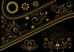 Stock Illustration of Gold border with pattern and details for design