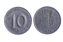 Deutschland pfenning coins - stock photo