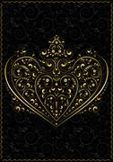 Stock Illustration of Gold openwork pattern in the form of heart