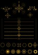 Stock Illustration of Gold  borders and ornaments on black background