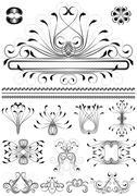 Collection of original frames and patterns - stock illustration
