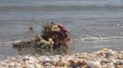 Broken marriage bride flower bouquet sea wave water shell paradise wedding sea Stock Footage