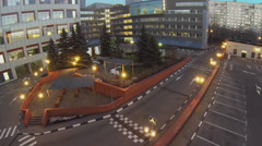 Recreational area near edifice of business complex Stock Footage