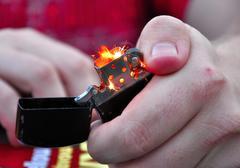Close up of black lighter, smoking Stock Photos