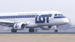 4K LOT Polish Airlines airplane landing Stock Footage