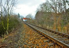 railway tracks without train in the czech republic - stock photo