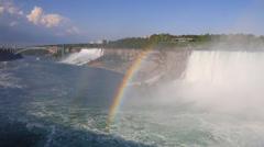 Niagara Horseshoe Falls American Falls Rainbow and bird Stock Footage