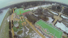 Panorama of museum-estate Kuskovo at winter day Stock Footage