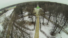 Aviary in park of museum-estate Kuskovo at Moscow Stock Footage
