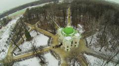 Tourist queue near Aviary in museum-estate Kuskovo at winter Stock Footage