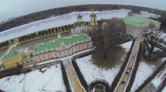 Panorama of museum-estate Kuskovo with dutch house at winter Stock Footage