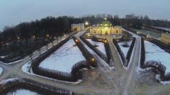 Illuminated edifice of Grot in museum-estate Kuskovo Stock Footage