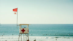 Lifeguard surveillance hut Stock Footage