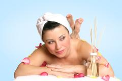 Beautiful woman spa therapy beauty treatment Stock Photos