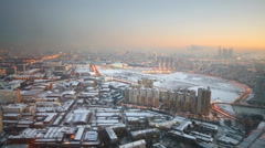 Aerial view to winter cityscape with different buildings Stock Footage