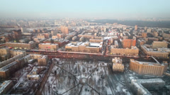 Large winter cityscape of city district from the height Stock Footage