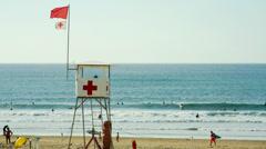 Lifeguard surveillance hut Stock Footage