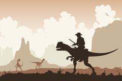 Dinosaur rider Stock Illustration