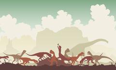 dinosaur feast - stock illustration