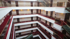 View from lift to hotel floors and hall decorated for wedding Stock Footage