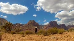Man At Red Rock Canyon National Conservation Area Admires View Stock Footage
