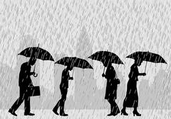 rain people - stock illustration