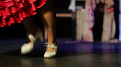 Skirt and shoes of woman dancing in House Flamenco Flamenqueria Stock Footage