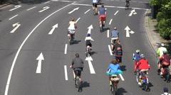 Berlin Cyclist on the autobahn, UHD 4K Stock Footage