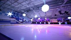 Empty ice stadium with spotlights at Ice Palace Mechta. Stock Footage