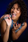Black female singer Stock Photos