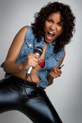 rock star woman - stock photo