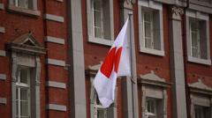 Japanese flag at Tokyo station, Tokyo, Japan Stock Footage