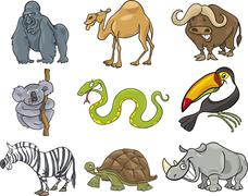 Stock Illustration of cartoon animals set