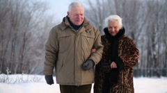 Happy elderly husband and wife walk and talk in park at winter Stock Footage