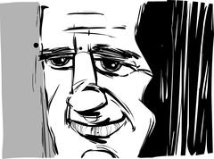 smiling man caricature - stock illustration