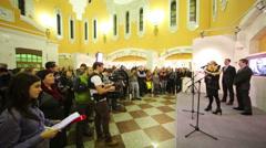 Director of Multimedia Art Museum Olga Sviblova on stage Stock Footage