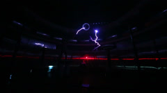 Man with artificial lightning at presentation of attraction Stock Footage