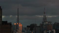 View of the city. Buildings - Sao Paulo, Brazil. Time lapse. Rainy day. Antenna - stock footage