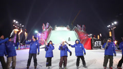 Skiers with torches in contest BGV 2013 Grand Prix De Russie Stock Footage